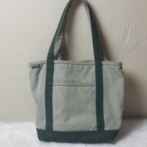 Lands End boat tote small bag, green canvas USA